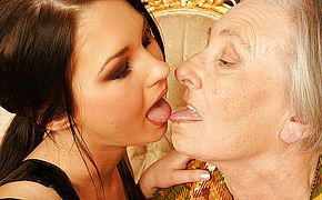 Granny takes her young lesbian maid for a ride