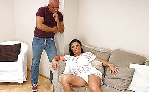 Horny mature slut fucking and <b>sucking</b>