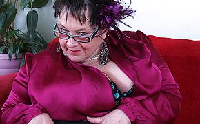 Huge breasted British mature <b>BBW</b> playing all by herself