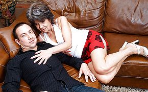 Naughty mature lady fucking and sucking her way younger lover