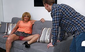Naughty mature slut doing her <b>toy boy</b>