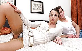 Hot mom fucking and sucking her <b>toy boy</b>