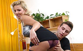 Horny housewife fucking and sucking her <b>toy boy</b>