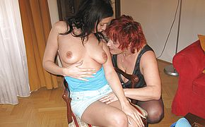 Horny teeny lesbian getting wet with her mature lover