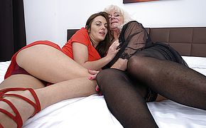 Two horny <b>old</b> and young lesbians get it on