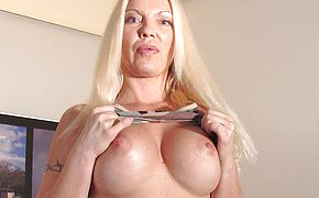 Blonde <b>MILF</b> playing all alone