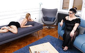 <b>Chubby</b> housewife doing a naughty young lesbian babe