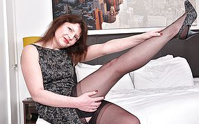 <b>Hairy</b> British housewife playing with her pussy