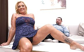 Hairy naughty housewife fucking and <b>sucking</b>