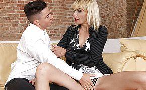 Horny housewife seducing her <b>toyboy</b> for sex