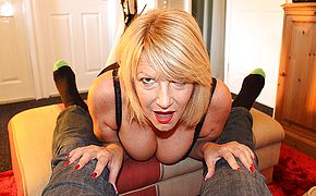 Horny mature Amy gives a blowjob in <b>POV</b> style