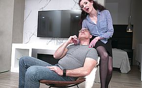 Horny mature <b>lady</b> fucking and sucking her lover