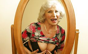 Look at <b>granny</b> getting wet and horny