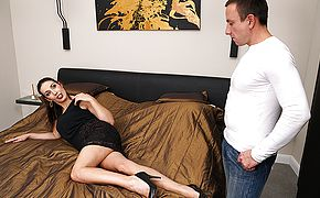 Naughty shaved housewife fucking and <b>sucking</b>