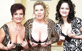 Three big breasted housewives fucking and sucking in <b>POV</b> style