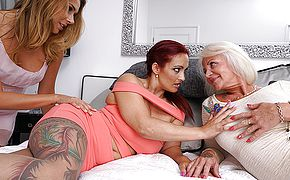 Three <b>old and young</b> lesbians make out with eachother