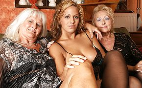 Hot babe doing two mature <b>lesbian</b>s at once