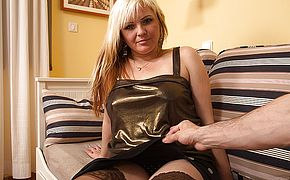 Hot blonde housewife fucking in <b>POV</b> style