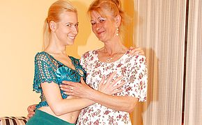 Two blonde <b>old</b> and young lesbians have fun