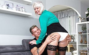 Chubby mature woman fucking and <b>sucking</b>