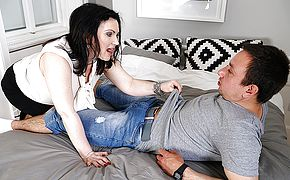 Hairy housewife fucking her <b>ass</b> off