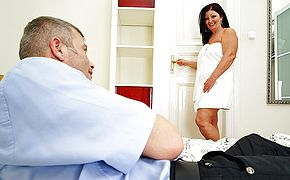 Horny housewife fucking and <b>sucking</b> her man