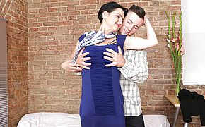 Horny housewife has a naughty date with her <b>toy boy</b>