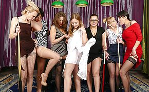 Seven <b>old</b> and young lesbians have fun at the pooltable