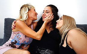 Three mature <b>lesbian</b>s go at it on the couch