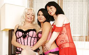 Three naughty <b>old</b> and young lesbians having a ball