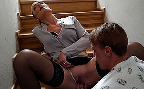Horny Milf blows her young stud and takes his big cock deep in her pussy
