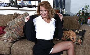 Naughty American secretary playing with her <b>pussy</b>