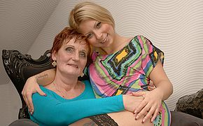 Two naughty <b>old</b> and young lesbians do it on the couch
