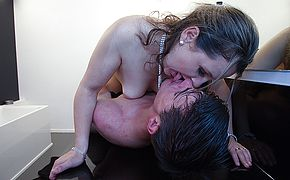 Sexy Belgium mom sucking and fucking her <b>young lover</b>