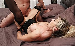 Sexy French Milf Marina Beaulieu sucks a big cock and gets fucked hard