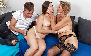 <b>Sexy</b> grannie joins young couple in hot threesome